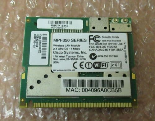 Cisco MPI-350 Mini-PCI Wireless LAN Module 2.4GHz DS 11 Mbps LAN Client Adapter